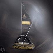 Caelum Jade Glass Corporate Award on Marble - Click to enlarge