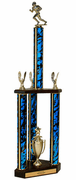 Quick-Ship Two-Tier 3-Column Trophies - Football - Click to enlarge