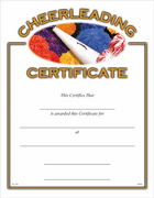 Cheerleading Certificates - Click to enlarge