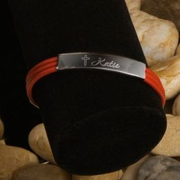Inspirational Leather Bracelet with Engraved Cross - Click to enlarge