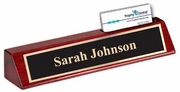 Engraved Desk and Name Block w/Business Card Holder - Click to enlarge