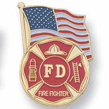 Fire Department Pins with Flag Design - Click to enlarge