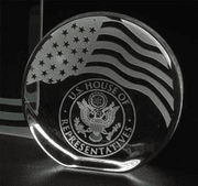 Crystal Disc Award with Embedded Flag Design - Click to enlarge