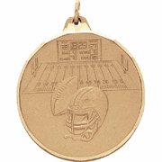 Football (Ball / Helmet Design) - 2 Inch Diamond Cut Edge Medal with Ribbon - Click to enlarge