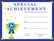 Special Achievement Certificate - Click to enlarge