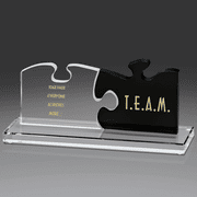 Puzzle Piece Glass Teamwork Award - Click to enlarge