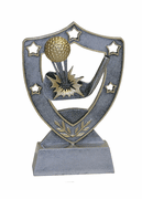 Star Shield Engraved Trophy - Golf Ball & Club - Click to enlarge