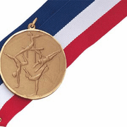 Girls Gymnastics - 2 Inch Diamond Cut Edge Medal with Ribbon - Click to enlarge