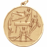 Boys Gymnastics - 2 Inch Diamond Cut Edge Medal with Ribbon - Click to enlarge
