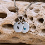 Personalized Swarovski Crystal Charm Necklace - Click to enlarge