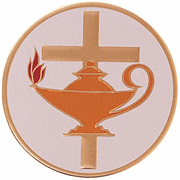 Lamp Of Learning With Cross Medal Insert (Etched) - Click to enlarge