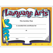 Language Arts Certificate - Click to enlarge
