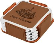 Leatherette Square Coaster Set with Metallic Edge - Click to enlarge