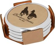 Leatherette Round Coaster Set with Metallic Edging - Click to enlarge