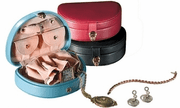 Mini Leather Jewelry Box with Removable Pouch - Click to enlarge