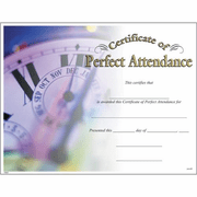 Perfect Attendance Certificates - Click to enlarge