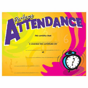 Perfect Attendance Clock Certificates - 8 1/2 x 11 - Click to enlarge
