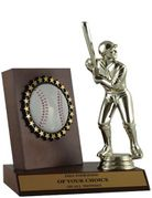 Premium Series Wood Baseball Plaque with Batter Figure - Click to enlarge