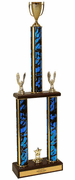 Two-Tier Championship Trophy w/ Wood Base - Cup - Click to enlarge