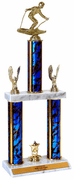Quick-Ship Two-Tier Trophies with Downhill Skiing Figure - Click to enlarge