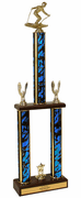 Two-Tier Championship Trophy w/ Wood Base - Downhill Skiing - Click to enlarge