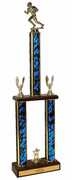 Football Two Tier Championship Trophy with Wood Base - Click to enlarge