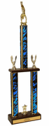 Gymnastics Two Tier Championship Trophy with Wood Base - Click to enlarge