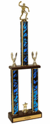 Two-Tier Championship Trophy w/ Wood Base - Table Tennis / Ping Pong - Click to enlarge