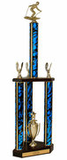 Quick-Ship Two-Tier 3-Column Trophies - Downhill Skiing - Click to enlarge