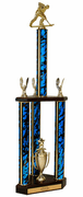 Quick-Ship Two-Tier 3-Column Trophies - Roller Hockey - Click to enlarge