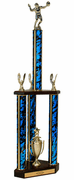 Quick-Ship Two-Tier 3-Column Trophies - Volleyball - Click to enlarge