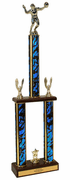 Two-Tier Championship Trophy w/ Wood Base - Volleyball - Click to enlarge