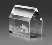 Real Estate House Crystal Paperweight - Click to enlarge