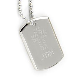 Small Inspirational Dog Tag with Engraved Cross - Click to enlarge