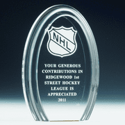 Elongated Oval Shaped Acrylic Trophy - Click to enlarge