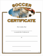 Soccer Certificates - Click to enlarge