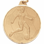 Girls / Female Soccer Player - 2 Inch Diamond Cut Edge Medal with Ribbon - Click to enlarge