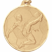 Boys / Male Soccer - 2 Inch Diamond Cut Edge Medal with Ribbon - Click to enlarge