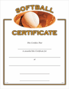Softball Certificates - Click to enlarge
