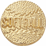 Gold Softball Letter & Lapel Pins - Click to enlarge