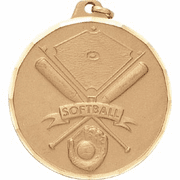 Softball & Crossed Bats - 2 Inch Diamond Cut Edge Medal with Ribbon - Click to enlarge