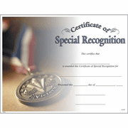 Special Recognition Certificates - Click to enlarge