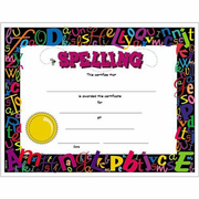 Colorful Spelling Award Certificates - 8 1/2 x 11 - Click to enlarge