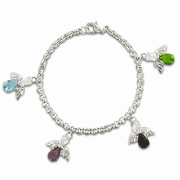 Sterling Silver Bracelet with attached Sterling Silver Angel Charms and Crystal CZ Stones - Click to enlarge