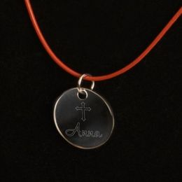 Inspirational Pendant Necklace with Engraved Cross - Click to enlarge