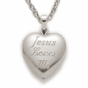 Sterling Silver Locket engraved with Jesus Loves Me - Click to enlarge