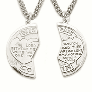 Sterling Silver Mitzvah Medal with 2 Hearts and Genesis on the Front - Click to enlarge