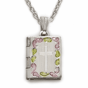 Sterling Silver Tri Color Bible Locket with Cross - Click to enlarge