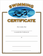 Swimming Certificates - Click to enlarge