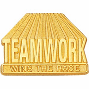 Teamwork Wins The Race Lapel Pin - Click to enlarge